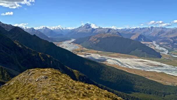 Aerial drone of young Caucasian adventure male traveller hiking nature in Mount Aspiring National Park South Island New Zealand