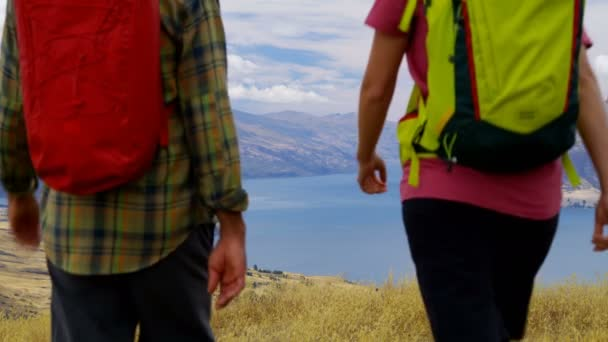 Young healthy Caucasian male and female with rucksacks trekking landscape of Mount Aspiring Lake Wakatipu New Zealand