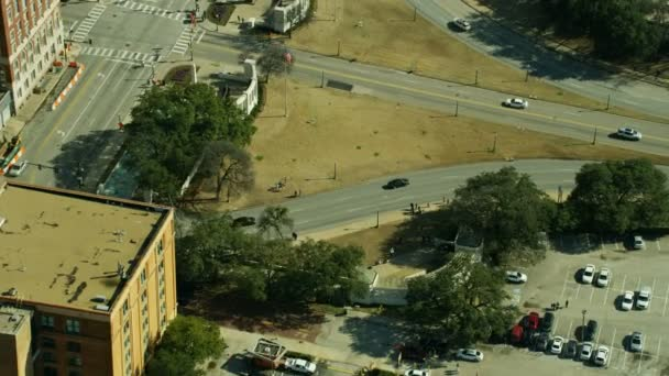 Aerial view of Dealey Plaza and Book Depository the place where JFK was assassinated in November 1963 Dallas Texas USA
