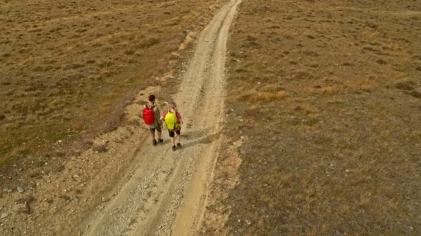 Aerial drone of Caucasian adventure hikers with backpacks trekking on mountain road Mount Aspiring Lake Wakatipu New Zealand