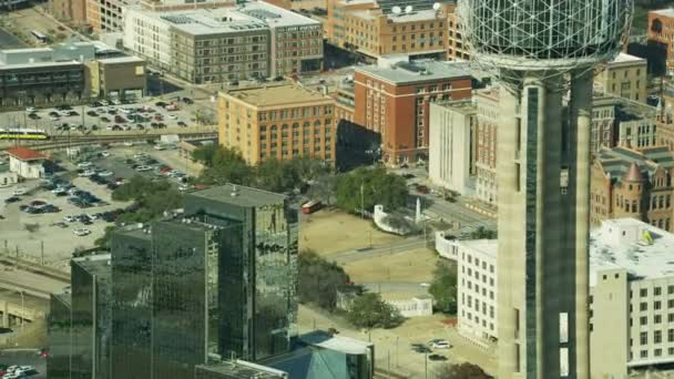 Aerial view of the Book Depository Dealey Plaza the place where JFK was assassinated in November 1963 Dallas Texas USA