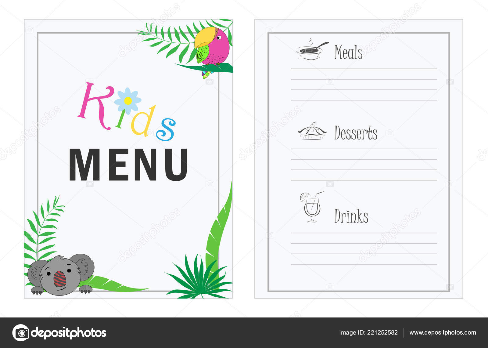 Children Menu Template Cafe Menu Design Kids Menu Children Palm