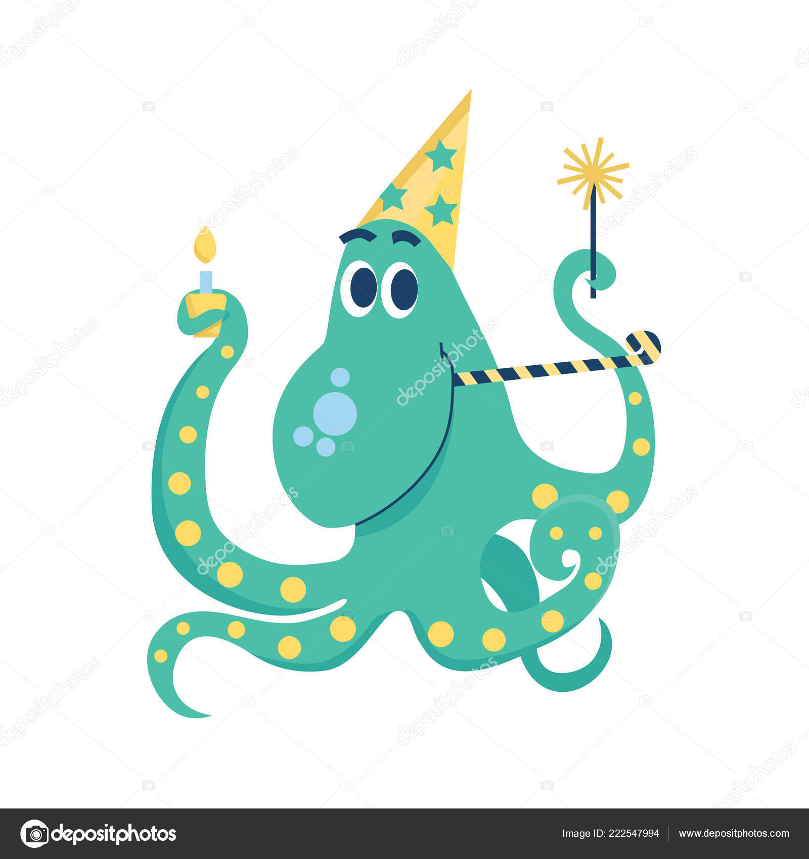 Happy Birthday Celebrating Octopus Sparklers Cap Cake Candle Party Horn Stock Vector