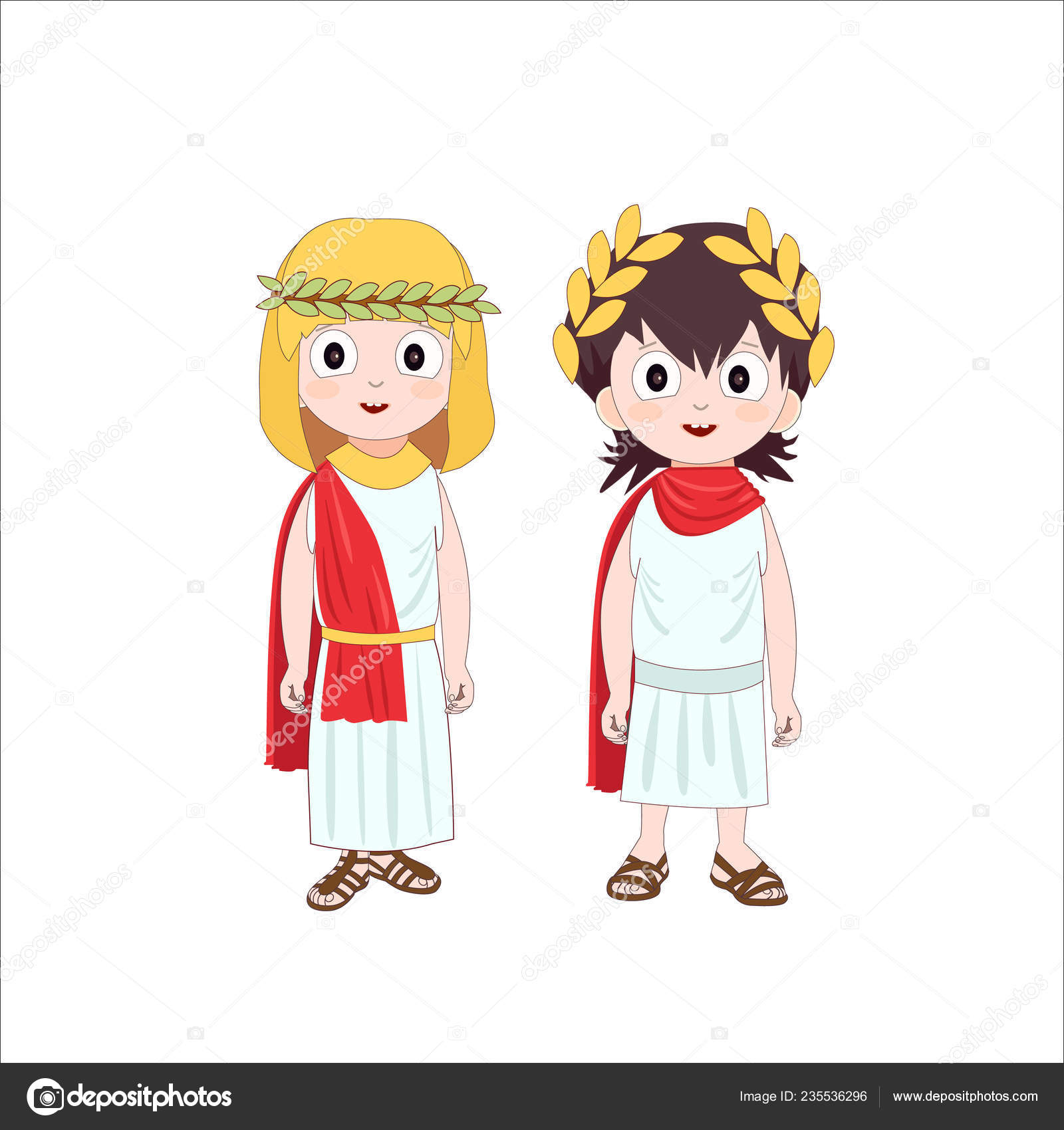 Antigos Personagens Desenhos Animados Roma Menino Menina
