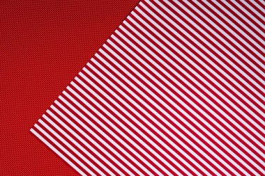 Top view of red and white template with polka dot pattern and stripes for background stock vector