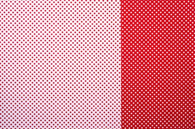 Top view of red and white surface with polka dot pattern for background stock vector