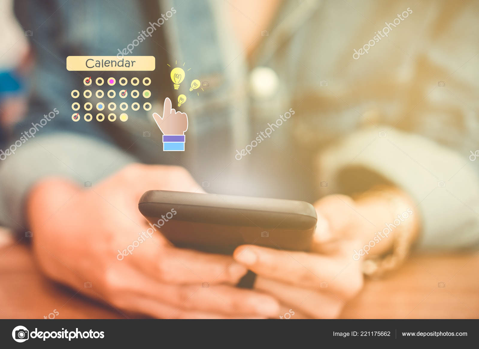 Woman Hand Using Smartphone Planning Digital Calendar Application