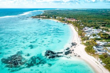 Aearial view of Belle Mare beaches, Mauritius.