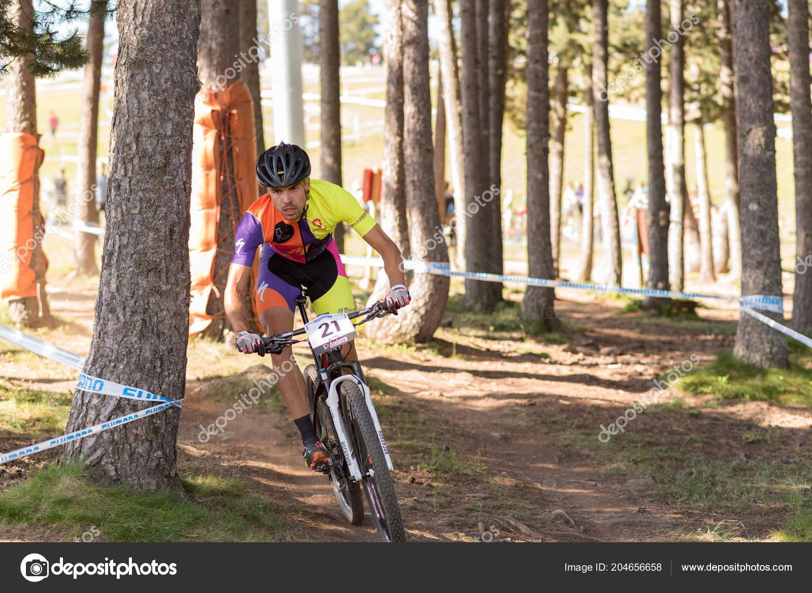 8e057db88 Vallnord Andorra July Cyclist Mercedes Benz Uci Mtb World Cup — Stock Photo