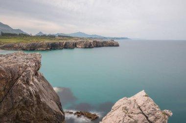 Image of scenic beach es of Torimbia and Toranda, Asturias, Spain.