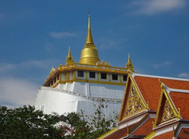 View of the golden dome of the Golden Mount Temple in Bangkok