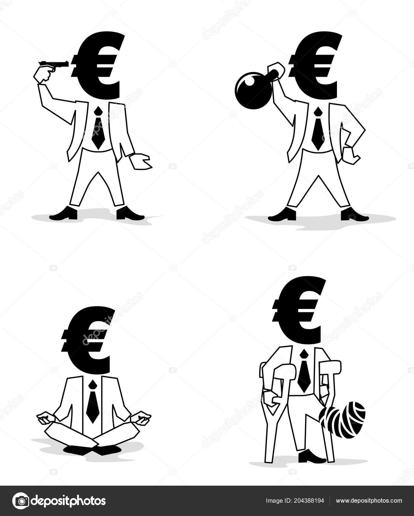 Euro Sign Money Symbol Passion Businessman Euro Coin Man Different