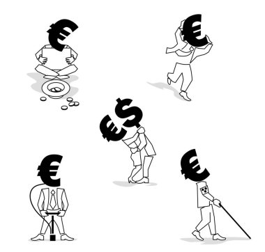 Euro sign, money symbol such as passion Businessman. Euro Coin-Man in different situation.