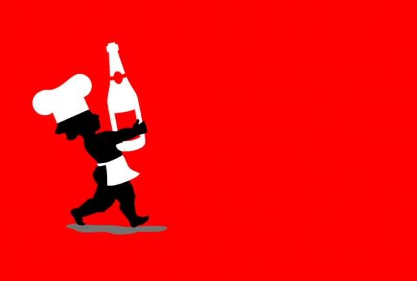 Animace kuchařů s champagne, brýle a dort na nový rok