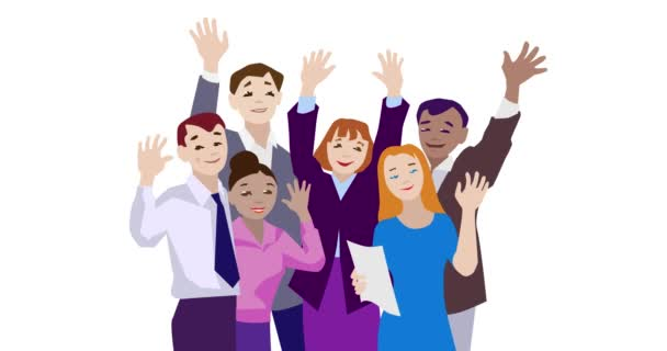 Animation of business team waving to camera.
