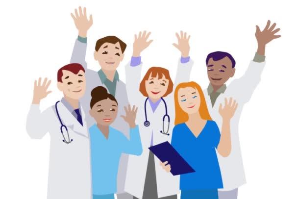 Animation von Ärzten und Krankenschwestern, die in die Kamera winken.