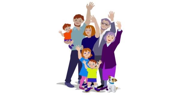 Animation of happy big family waving.