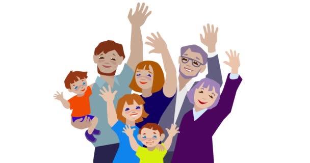Animáció a boldog nagy család integet.