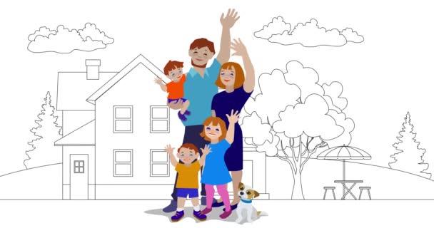 Animace šťastné rodiny mávající se domem na pozadí.