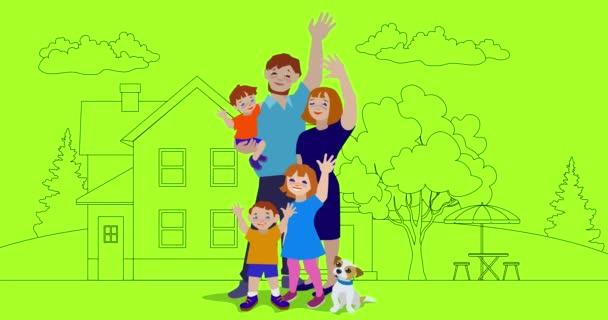 Animation einer glücklichen Familie, die mit einem Haus im Hintergrund winkt.