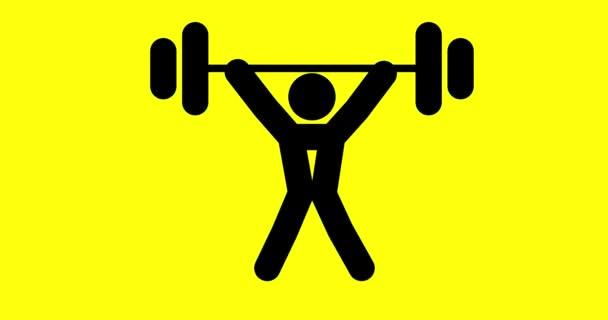 Animace ikony sady člověka cvičení ve fitness