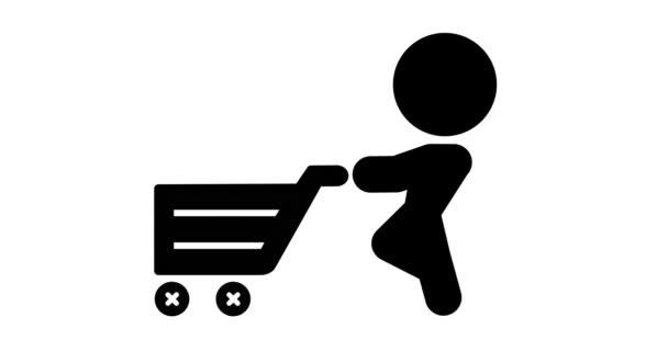 Animation des Konsumenteneinkaufs mit einem Einkaufswagen.