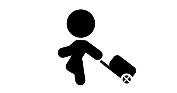 Loop animáció az ikon megy a poggyász