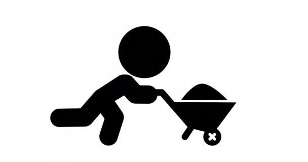 Opakovat animaci ikony stavební dělník tlačí vozík