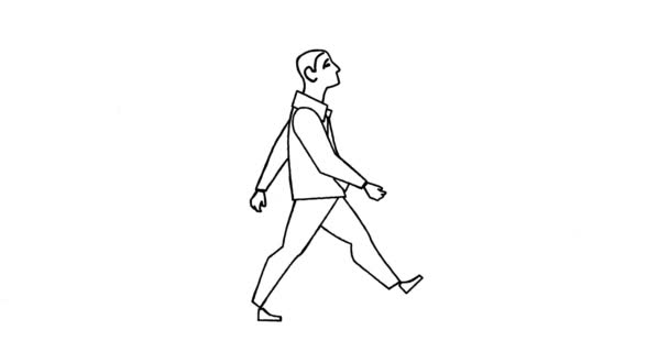 Loop animation of businessman going, man walking cycle
