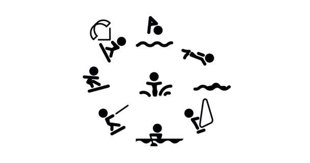 Animation Wassersport-Ikonen im Umriss-Design