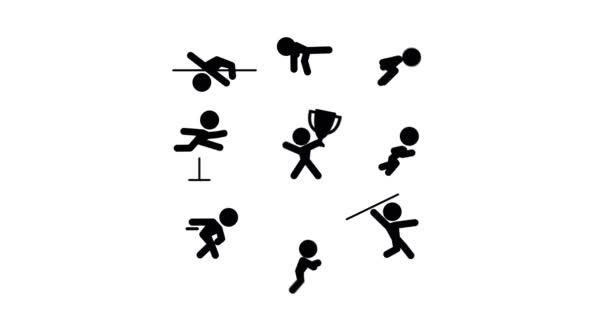 Ikonok a tízpróba-atléta, elszigetelt fehér alapon