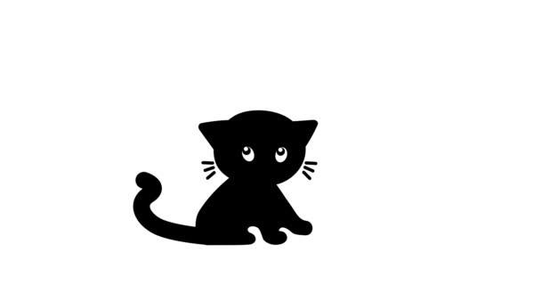 Illusztráció fekete macskák, aranyos cica sziluett.