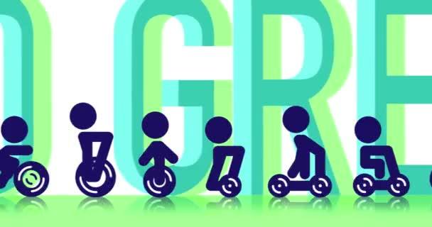 Zusammensetzung Schriftzug GO GREEN und Stickman Reiten modernen Elektroroller, Fahrrad, Segway, Hoverboard, Roller.