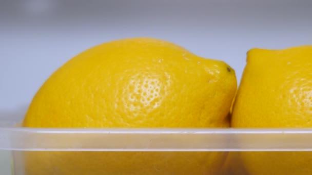 Organic food, fruits. Detox drink. Vitamin C. Copy space. Lemons keep freshness in the fridge. Lemons ready to use. Healthy food concept