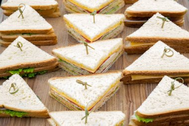 Catering service background. Food for business events. Delicious blend of savory and sweet. Party catering