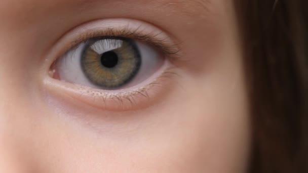 Dítě hledící do kamery. Extrémní detailní záběr. Na něco zírej. Dětské emoce. Dívej se. Soustředěné oko roztomilé holčičky. Atraktivní Enthusiastic Eyes Kid. Dívka hledající do