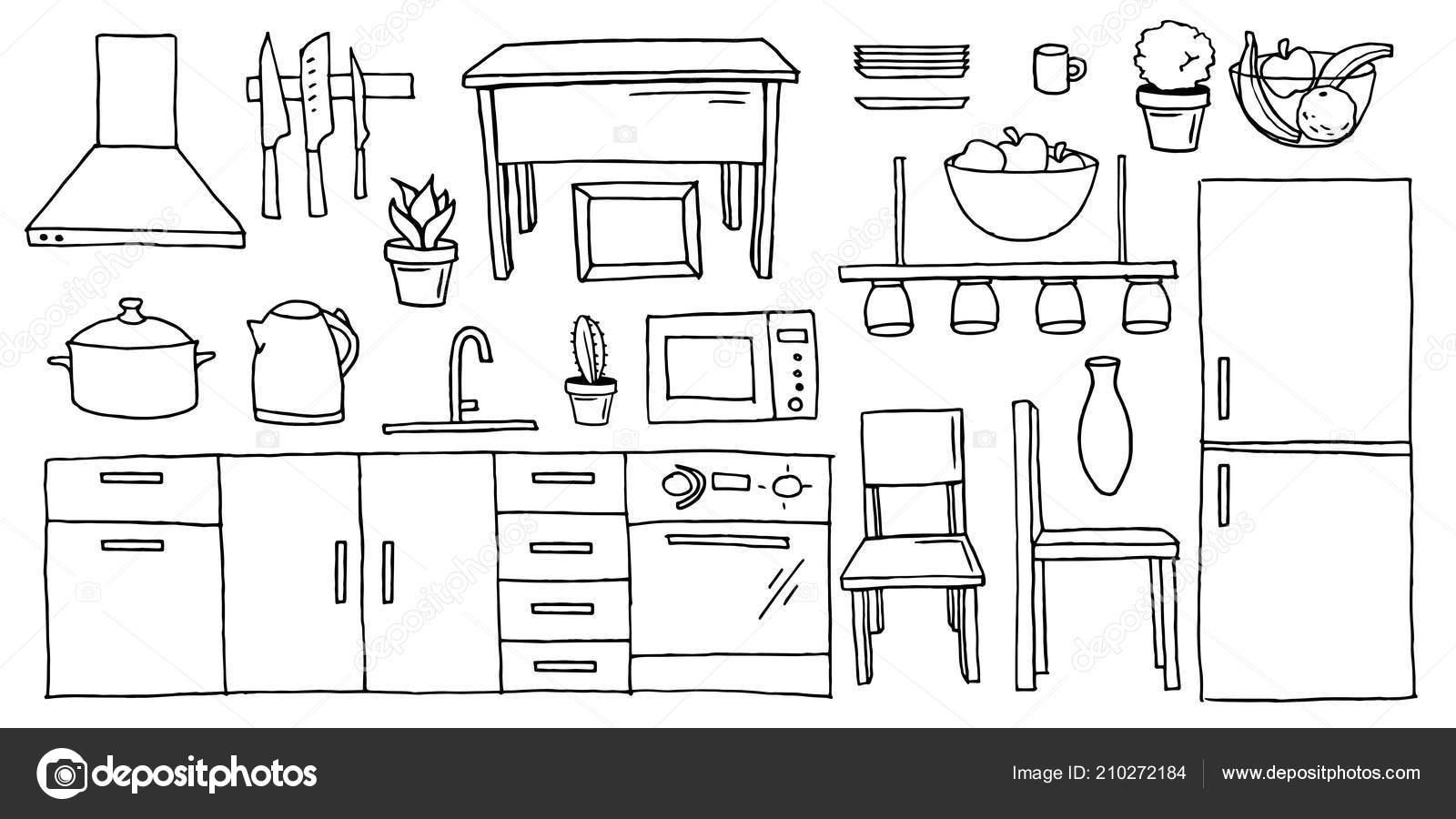 Sistema de muebles de cocina blanco y negro dibujos animados ...