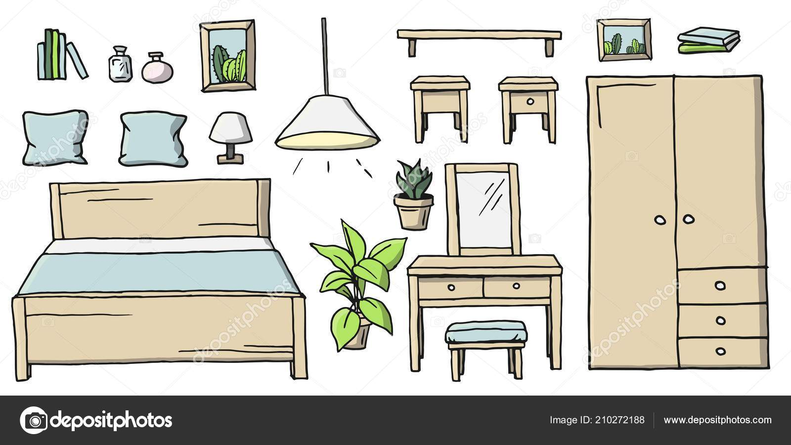 Hand Drawn Cartoon Colored Bedroom Furniture Set Collection Of Room