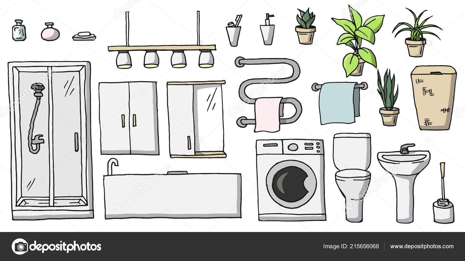 Hand Drawn Cartoon Colored Bathroom Toilet Furniture Set Collection Room Vector Image By C Sofia Gazarian Vector Stock 215656068