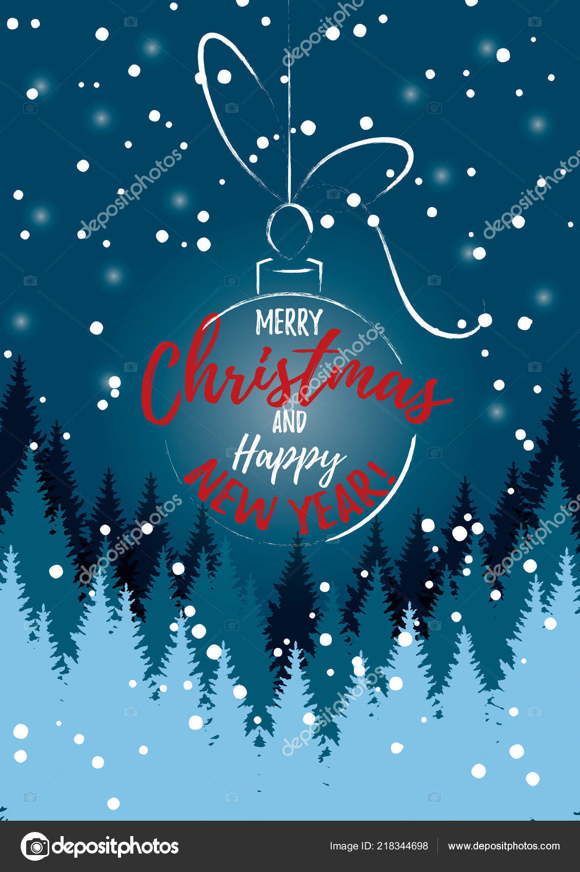 Vector Illustration Christmas Ball Merry Christmas Happy New Year ...