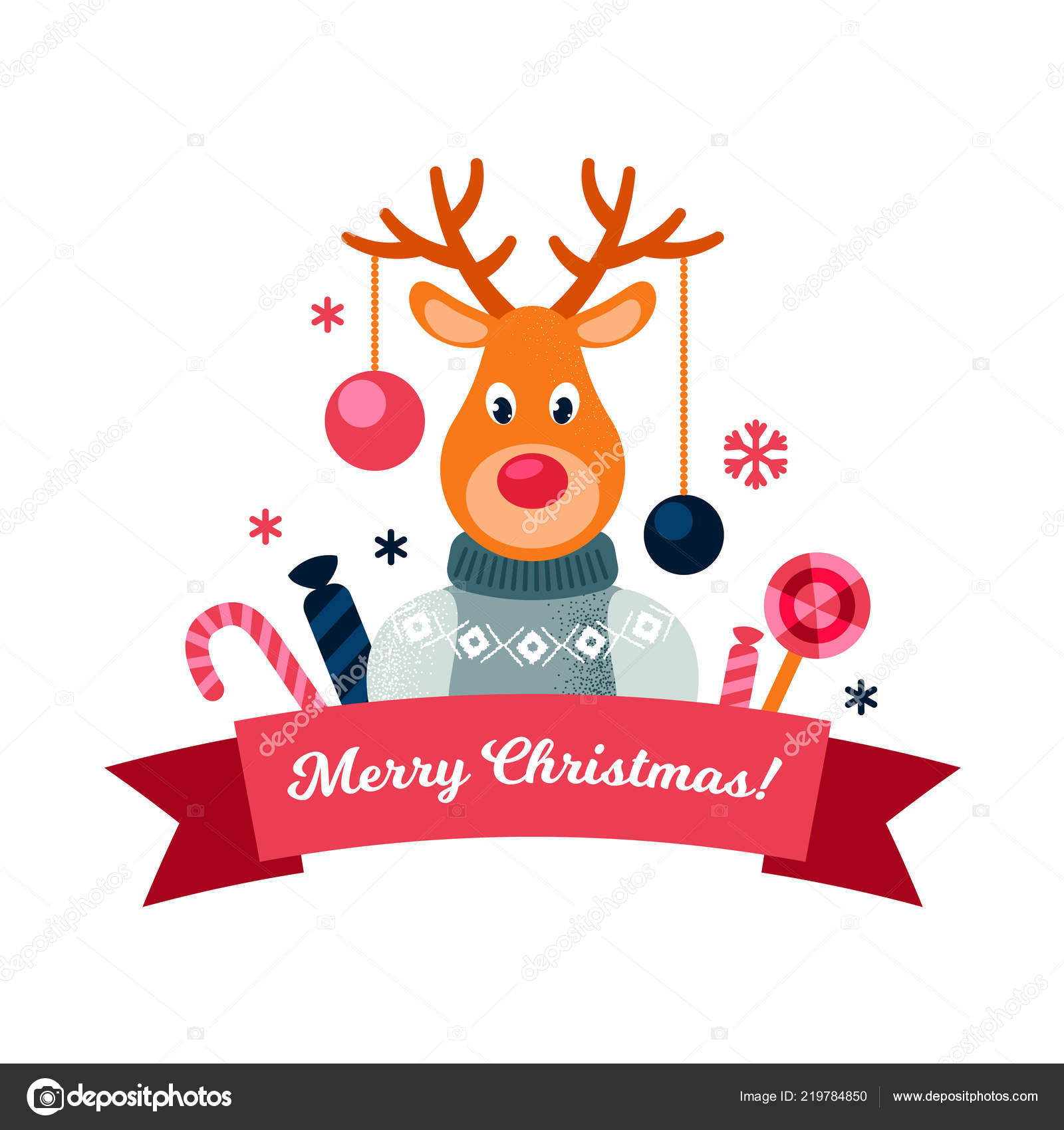 christmas label cute reindeer vector illustration christmas design