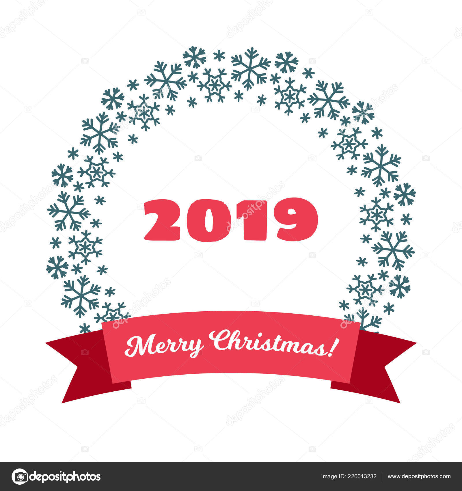 Merry Christmas Happy New Year 2019 Greeting Card — Stock Vector ...