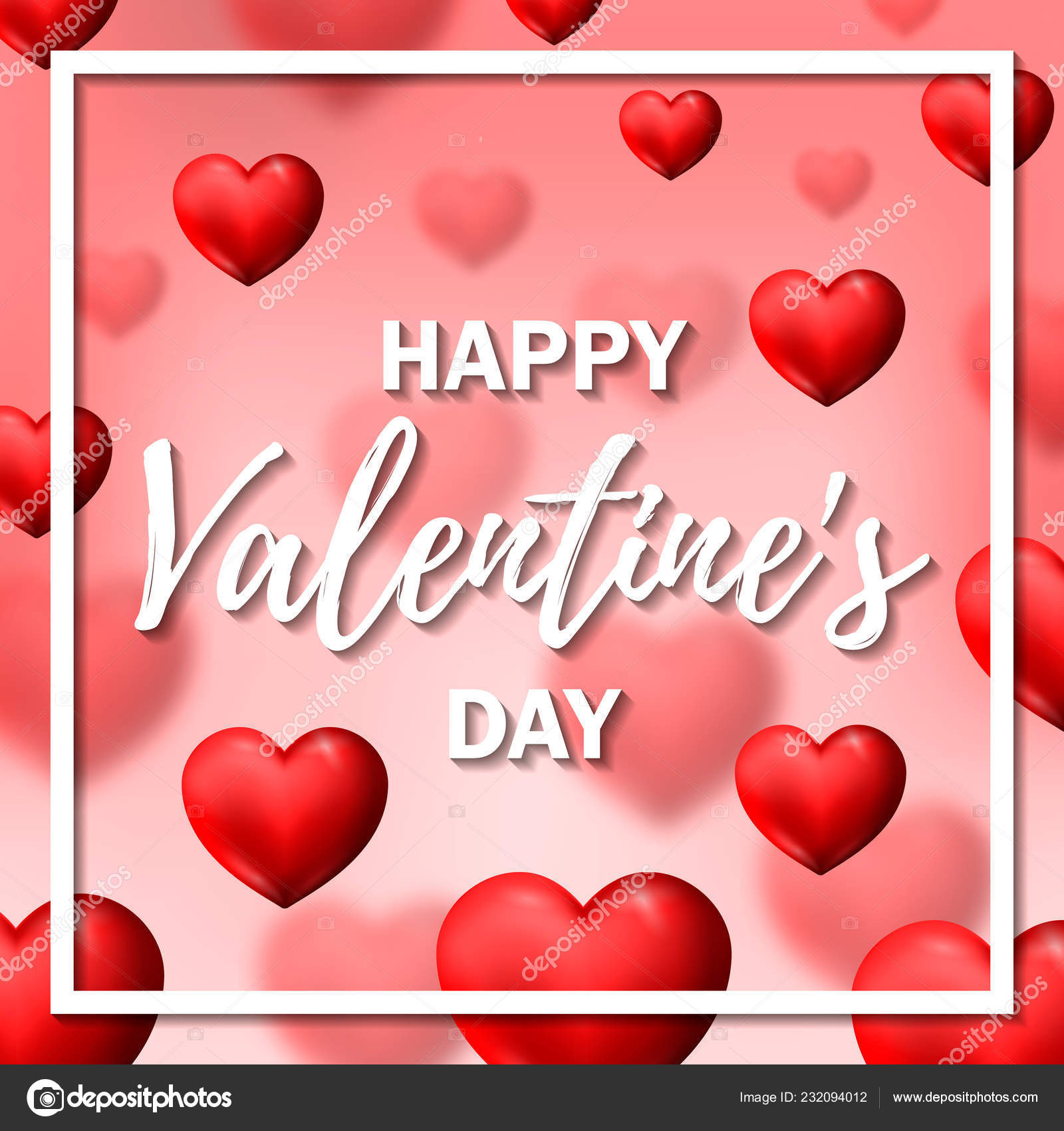 Valentines Day Greeting Card Red Hearts Pink Background Vector