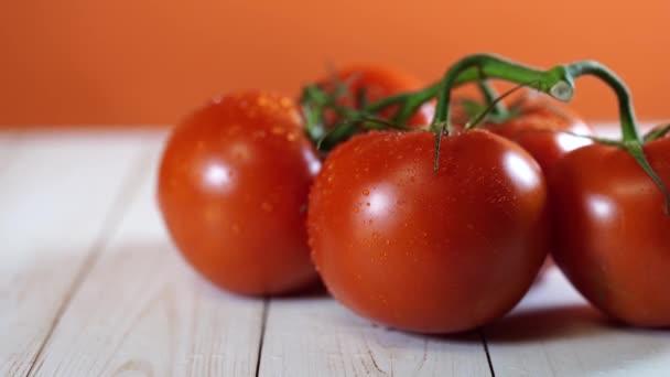 Vörös paradicsom, fehér fa háttérrel. A nézet felülről. Mosott zöldségek egy ág. A koncepció a nyers élelmiszerek. Egészséges táplálkozás.