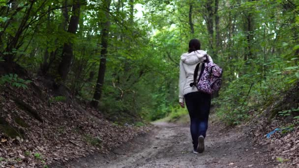 Anonymous woman walking in park. Back view of young female with ornamental backpack walking along path in quiet autumn park