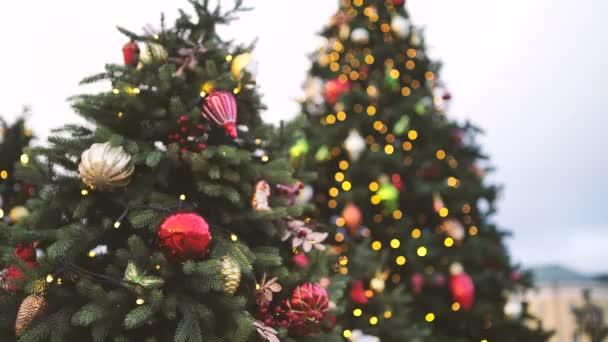 Detailní záběr části vánočního stromečku s různými vánočními hračkami a věnci na ulici ve večerním městě. Jehličnatý strom s dekorativními ozdobami pro vytvoření slavnostní nálady