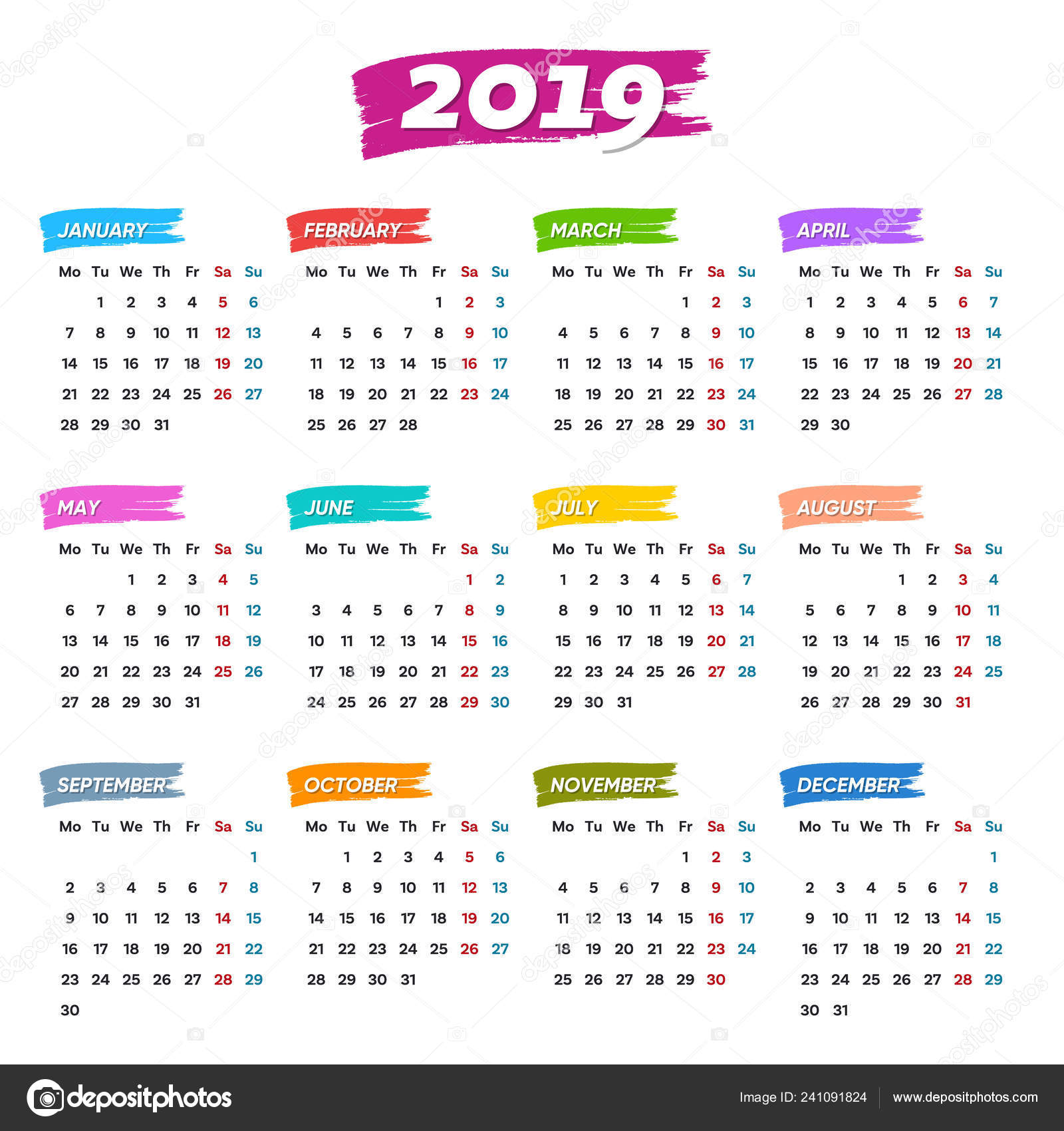 Calendario Del 1979.Nuevo Vector Calendario 2019 Semanas Comienzan Del Lunes