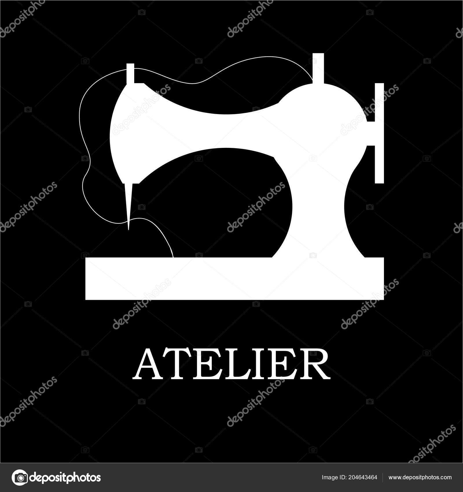 Векторная иллюстрация швейной машины и аксессуары для шитья магазин и ателье.  Logothype 0fcf1e1fb8253