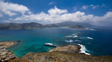 View from Gramvousa to the Balos bay, Crete, Greece