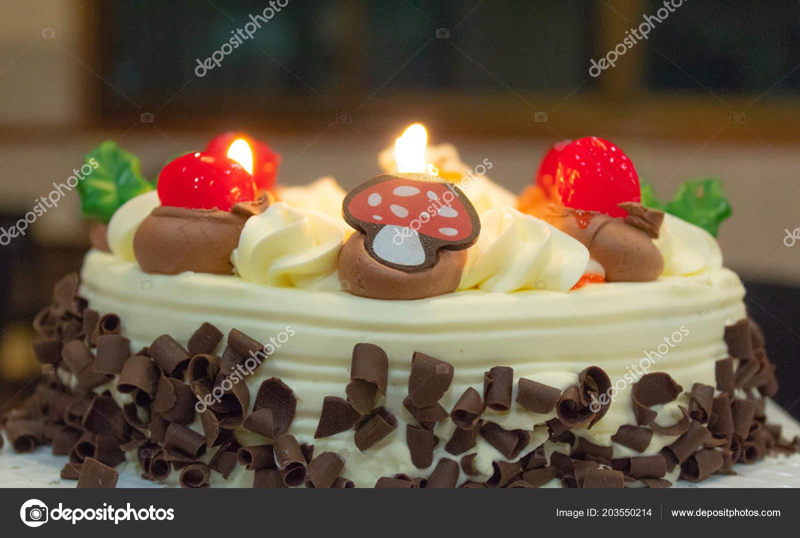 Birthday Cake Cut Triangles Tasty Stock Image
